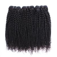 pelo peruano 18 pulgadas al por mayor-Afro Kinky Paquetes de cabello rizado Brasileño peruano Virgen de la India Cabello 3 o 4 paquetes 10-28 pulgadas Remy Extensiones de cabello humano