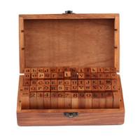 Wholesale wooden numbers letter stamp resale online - DHL set set Number and Letter Wood stamp Set Wooden Box Multi purpose stamp DIY funny work SN1958
