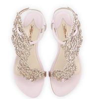 vestidos de verão micro venda por atacado-Sophia Webster borboleta de cristal sandálias planas mulheres flip flops asas de anjo tanga sapatos casuais planas mulheres verão saltos vestido sandálias