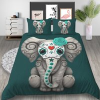 Wholesale queen elephant bedding resale online - Elephant Printed Bedding Set King Simple Creative Cute D Cartoon Duvet Cover Queen Home Deco Single Double Bed Cover with Pillowcase