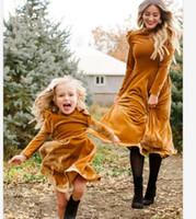 ingrosso bambina mamma abbinare i vestiti-madre figlia autunno vestito pieno mamma manica e mi veste abiti famiglia abbinare i vestiti sembrano mamma mamma e dalla neonata