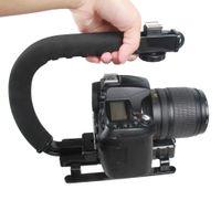 dslr el sabitleyici toptan satış-Taşınabilir C Tipi El Metal Kamera Sabitleyici Tutucu Kavrama Flaş Braketi DSLR Kamera için Montaj Adaptörü Kamera Aksesuarları