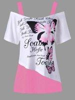 butterfly printed tops toptan satış-Kadınlar Kız T-shirt Kapalı Omuz Kelebek Baskılı Gömlek Kısa Kollu Artı Boyutu Düzensiz Yaz giysileri 3 renkler GGA1578 tops