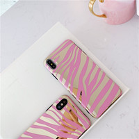 Wholesale phone cases zebra for sale – best Shiny Zebra stripes phone Case For iphone XS Max XR XS soft TPU Case for iphone s plus silicone mirror case