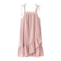 keten işlemeli yazlık elbiseler toptan satış-Çin Tarzı Pamuk Ve Keten Kolsuz Elbise Işlemeli Dantel Fırfır Elbiseler Yaş 6-16 Yıl Genç Kızlar Için Yaz Giysileri Y19061801