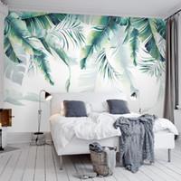wandmalerei für wohnzimmer großhandel-Fugenlose Benutzerdefinierte Fototapete Tropischer Regenwald Palm Bananenblätter Wandmalerei Schlafzimmer Wohnzimmer Sofa Hintergrund