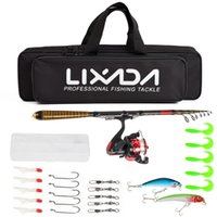 Wholesale under spin lures for sale - Group buy Lixada Carbon Fiber Telescopic Fishing Rod and Reel Combo Full Kit Spinning Fishing Reel Fishing Lure Gear Organizer Pole Set
