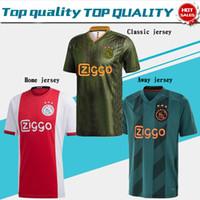 erkekler forma giyenler toptan satış-2020 AJAX ev Futbol Formalar # 21 DE JONG uzakta Gömlek 19/20 10. TADIC 4. DE ligt # 22 ZIYECH Erkekler futbol üniforma Ajax
