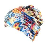 купальный колпак мода оптовых-Women Nylon Long Hair Pleated Pool Bathing Beach Flower Printed Stretch Elastic Adult Fashion Hat Swimming Cap