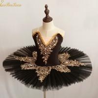 erwachsene schwan kostüm großhandel-Mädchen See Schwan Tutu Ballett Rosa / schwarz Ballett Kleid Frauen Tanzkleid Gold Spitze Ballerina Diamant Erwachsene Bühnenkostüm