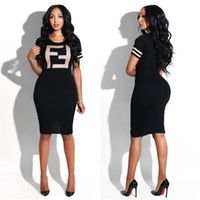 Wholesale sports dresses for sale - F Letter Print T shirt Dress Women Summer Short Sleeves o neck print Dresses Women Sports Tight Sexy bodycon Skirt LJJA2296
