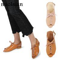 плоские кожаные сандалии оптовых- Women Leather Casual Sandal Shoes Dress Summer Flat Shoe Woman Sandals Spring Chaussure Ladies Flats Women's Sandles