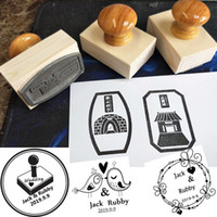 Wholesale inking pad resale online - Diy scrapbooking ink pad wooden rubber stamp custom logo or letter for wedding and gift