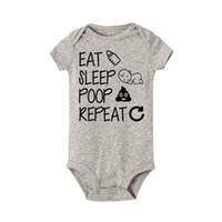pantalones cortos de algodón para niñas al por mayor-Eat Sleep Poop Repeat Body de bebé Recién nacido Infantil Niñas Niño de manga corta Divertidos monos de algodón Mono Traje Ropa Bebé