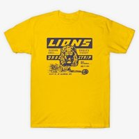 carro de corrida amarelo venda por atacado-HAHAYULE-JBH Unisex Lions Drag Strip T-shirt amarela Era uma vez em Hollywood Tee Vintage Fashion Racing Car Shirt
