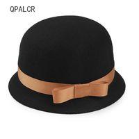 QPALCR Winter Hats For Women Lady Fedoras Formal Brim Wool Felt Hat Floppy Bowler  Fedora Cloche Trilby Hat Dome Cap fbbbbbd34c4a