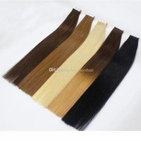 Wholesale skin weft european resale online - Top quality mink brazilian Human Hair extensions tape in bundles Skin Weft Seamless European Hair Samples For Salon hair
