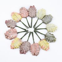 Wholesale brooch decorations resale online - 12pcs cheap christmas decorations for home wedding decoration candy box Bridal brooch fake leaf artificial plants Pretty Leaves