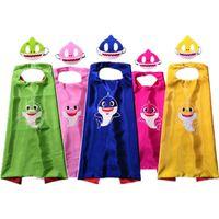 fournitures de costume de fête achat en gros de-Bébé requin robe cape avec masque enfants cosplay costume enfants bande dessinée capes ensemble fête d'anniversaire Halloween fournitures