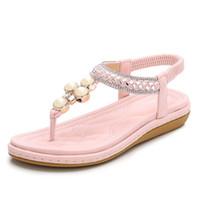 6e421edbb4e037 Women s Rhinestone Flat Sandals Glitter Shoes Bohemian Summer Beach T-Strap  Flip-Flops Thong Sandals Lightweight and Comfortable Shoes