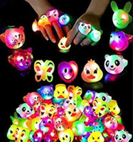 Wholesale children soft toys for sale - Group buy LED soft glue flash expression Ring Luminous ring children cartoon finger light led flash ring Party Birthday Gifts LED Toys MMA3062