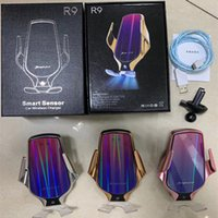 Wholesale car outlet phone holder for sale – best R9 Car Wireless Charger W Fast Charging Automatic Clamping Phone Holder Car Air outlet Holder For iphone Samsung with box packing