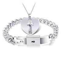 chave de nuvem venda por atacado-Titanium aço casal pulseira colar kit correndo na nuvem coração conjunto de chaves com concêntrica lock lady jóias