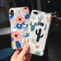 Wholesale silicone case iphone flowers for sale – best Phone Case For iPhone XS Max XR s Plus X Shockproof Transparent Soft TPU Classical Flowers Cactus Back Cover