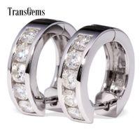 Wholesale moissanite carat earrings for sale - Group buy Transgems Tcw Carat Lab Grown Moissanite Diamond Hoop Earrings In Solid k White Gold For Women Wedding Engagement Birthday Y190726