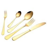 çatal kaşık partisi toptan satış-Altın renk 5 adet / takım sofra takımı set sofra çatal çatal bıçak kaşık çay kaşığı mutfak aksesuarları düğün ev partisi için wn115