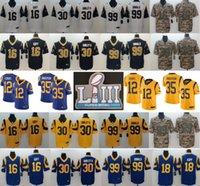 jersey de fútbol para hombre xxl al por mayor-2019 Los Angeles Super Bowl LIII Jerseys Rams 16 Jared Goff 30 Todd Gurley II 99 Aaron Donald 12 Brandin Cooks 35 C.J Anderson Mens Football