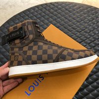 Wholesale mesh hook resale online - Rivoli Sneakers Iconic Damier Graphite Canvas Mens Luxury DesigneShoes Casual Shoes with men Printed Leather Hook and Loop Strap Sneakers