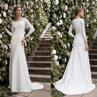 Wholesale simple red party dresses resale online - Simple Mermaid Modest Wedding Dresses Long Sleeves Beaded Elegant Formal Reception Party Dress Bridal Gown Sexy