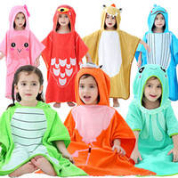 Wholesale beach robe kids for sale - Group buy 7 styles Flamingo crocodile Whale jellyfish bathrobe Kids Robes cartoon animal Nightgown Children Beach towel cloak Hooded bathrobes C6919