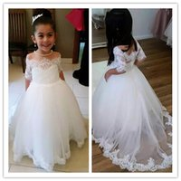 caçadores brancos venda por atacado-Little White Flower Girl Dresses 2019 Sheer Neck Lace Appliqued Saias Em Espartilho Corset Voltar Crianças Formal Wear
