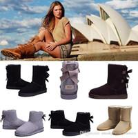 botas altas negras para niñas al por mayor-Alta calidad 2019 nueva WGG para mujer australia clásico botas de rodillas Botines Negro Gris castaño azul marino Mujer niña botas EE. UU. 5--10
