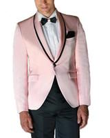 esmoquin de graduacion al por mayor-Pink Tailored Mens Suits Shawl Lapel Mens Trajes de boda Un botón de graduación Prom Tuxedos para hombre Novio Tuxedos 2 piezas chaqueta pantalones