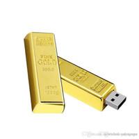 usb flash drives gold bar venda por atacado-Atacado W varejo Mais novo design dourado usb flash drive pen drive 4 GB 8 GB 16 GB 32 GB 64 GB Barra de ouro USB 2.0 pendrive de memória Flash disco
