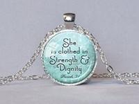 silberne aqua halskette großhandel-Schmuck Sprüche Halskette Bibel Vers Anhänger Aqua Schrift Schmuck Christian Geschenk für ihr religiöses Zitat
