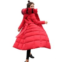 mujer xs abrigos de piel al por mayor-Chaqueta de invierno para mujer 2018 Nuevas chaquetas largas casuales Cuello de piel grande Con capucha Outwear Parkas Slim abrigo de invierno para mujer chamarras de mujer