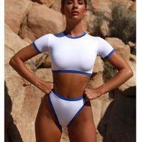 6758dfe249 Sports Swimwear Women 2018 High Thong Bikini Set Brazilian Swimsuit Short  Sleeve Bathing Suit Two-Piece Suit High Cut