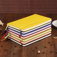 a5 lederne notizbücher großhandel-Hardcover-Notizbuch A5 College Ruled Dickes klassisches Schreibens-Notizbuch PU-Leder mit Taschen-elastischem Verschluss gebändert