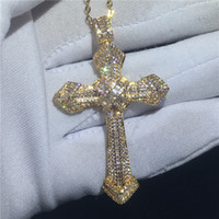 Wholesale big gold pendants for men for sale - Group buy choucong Fashion Big Cross Pendants A Cz Gold Filled silver Party Wedding Pendant with Necklaces for Women Men jewelry