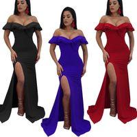 tubo azul sexy venda por atacado-2019 mulher envoltório tubo longo dress party alta divisão noite clubwear magro azul preto sexy apertado vestidos de moda vestidos de verão
