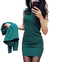 повседневная одежда для женщин оптовых-Women Fashion Round Neck Sleeveless Solid Casual With Autumn, Winter Jacket Above Knee, Mini Business Dress