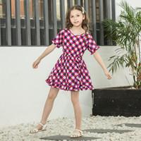 Wholesale kids s fashion summer clothing for sale - Group buy Fashion Princess Ruffle Sleeve Dress Kids Plaid Dot Party Dress Baby Clothing Children colors Lattice print Beach Dress T TA686