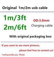 cabos venda por atacado-Cabo do carregador da sincronização dos dados de USB do cabo do usb da alta qualidade 1m 3ft 2m 6ft com a caixa de empacotamento original