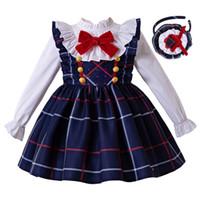 3t 4t hosenträger groihandel-Pettigirl Weihnachtskleid Blau Grid Straps-Mädchen-Kleid + Bluse + Stirnband mit Schleife Mädchen Mode Kinder Winter Kleid G-DMCS208-239