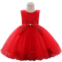 boncuklu parmaklı toptan satış-Çocuk sınır ötesi 2019 yeni yıkama elbise payetli boncuklu nakış bebek prenses elbise çıkartması gelinlik