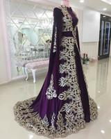imperium stil formale mutterschaft kleid großhandel-Marokkanische Kaftan Abendkleider Lila Elegante Dubai Abaya Arabische Abendkleider Für Besondere Anlässe Abendkleid Mit Applikationen Spitze Vintage